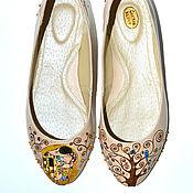 Обувь ручной работы. Ярмарка Мастеров - ручная работа Балетки из кожи с росписью Климт. Handmade.