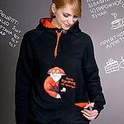 Одежда handmade. Livemaster - original item Women`s hoodie loose, long black Fox hoodie, hoodie. Handmade.