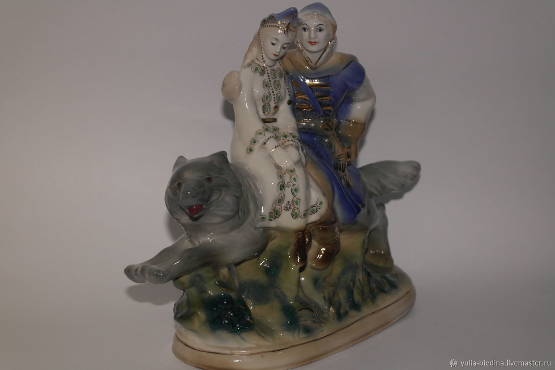 Porcelain figurine 'Prince Ivan on the grey wolf', Gzhel, Vintage interior, Mogilev-Podolsky,  Фото №1