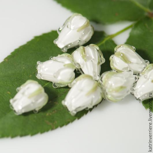"""Для украшений ручной работы. Ярмарка Мастеров - ручная работа. Купить Бусины-бутоны """"Белла"""". Handmade. Белый, цветы"""