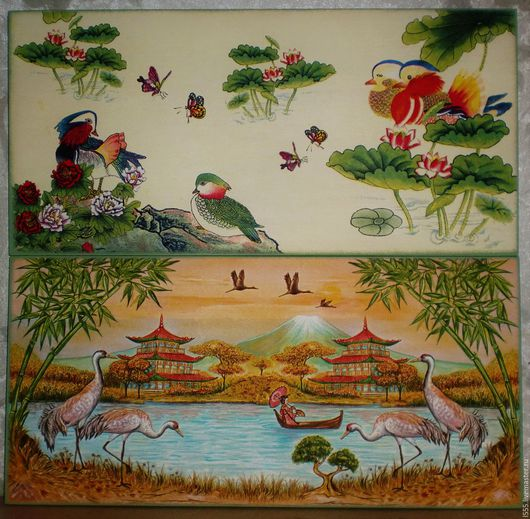 """Кухня ручной работы. Ярмарка Мастеров - ручная работа. Купить """"Китайские и Японские мотивы"""" Разделочная доска панно. Handmade. Комбинированный"""