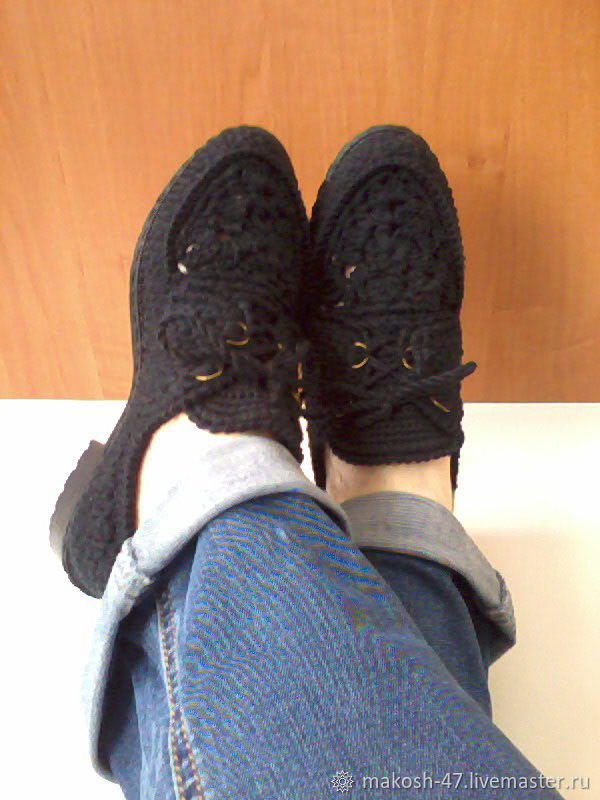 Вязаные мокасины со шнурками женские ( хлопок )