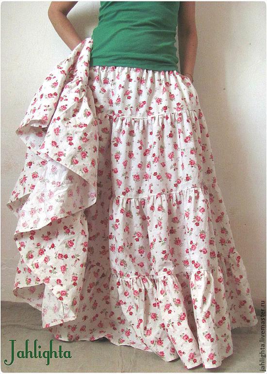 Scarves handmade. Livemaster - handmade. Buy Skirt 'In the garden...'.Boho, floral, skirt with pockets
