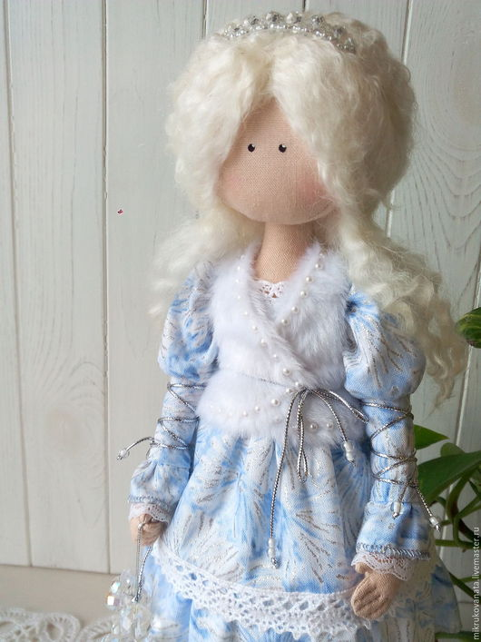 Коллекционные куклы ручной работы. Ярмарка Мастеров - ручная работа. Купить Зимняя девочка.... Handmade. Голубой, новый год 2016, кружево