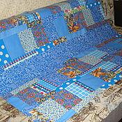 """Для дома и интерьера ручной работы. Ярмарка Мастеров - ручная работа Покрывало """"Голубая кривулька крейзи""""(продано). Handmade."""