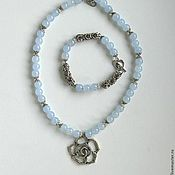 "Украшения handmade. Livemaster - original item Set necklace and bracelet of blue jade ""Promenade"". Handmade."