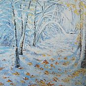 Картины и панно handmade. Livemaster - original item Winter forest painting, oil 50h60. Handmade.