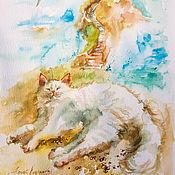 Картины и панно handmade. Livemaster - original item White fluff - painting watercolor. Handmade.