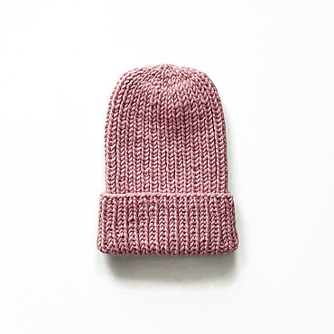 Accessories. Livemaster - original item Women`s knitted wool hat pink with a lapel. Handmade.