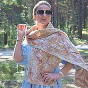 Аксессуары handmade. Livemaster - original item The scarf is felted of wool and silk. Long felted scarf Beige lines. Handmade.