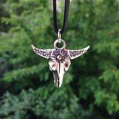 Украшения handmade. Livemaster - original item Buffalo skull pendant with shining star of silver and brass jewelry. Handmade.