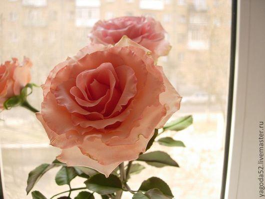Цветы ручной работы. Ярмарка Мастеров - ручная работа. Купить розовая роза (флористическая глина). Handmade. Розовый, Флористическая глина