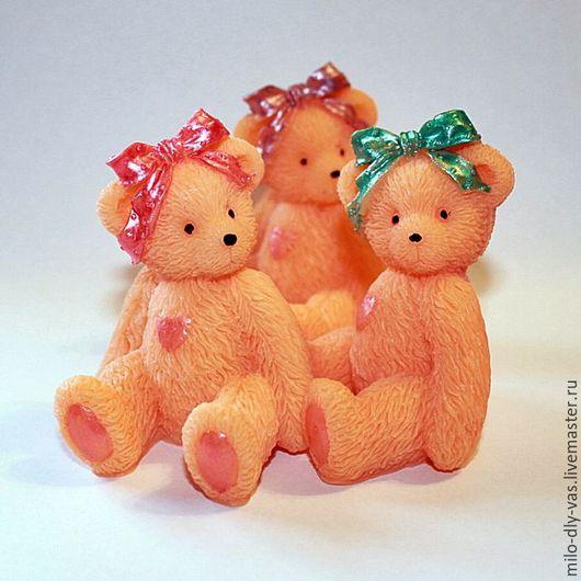 Мыло Медвежонок с бантиком, сувенирное мыло ручной работы, медвежонок девочка