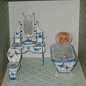 """Куклы и игрушки ручной работы. Ярмарка Мастеров - ручная работа Кукольная мебель, мебель для ванной,""""Розочки и бабочки"""", декупаж.. Handmade."""