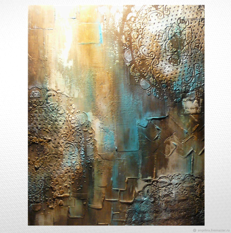 Картина-абстракция в интерьер Золото с бирюзой , Картины, Севастополь,  Фото №1
