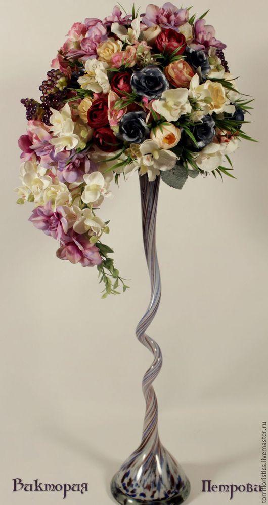 Интерьерные композиции ручной работы. Ярмарка Мастеров - ручная работа. Купить Цветочная композиция в витой вазе. Handmade. Фиолетовый