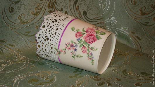 """Кашпо ручной работы. Ярмарка Мастеров - ручная работа. Купить Кашпо """"Розы"""". Handmade. Розовый, кашпо для цветов, горшок для цветов"""