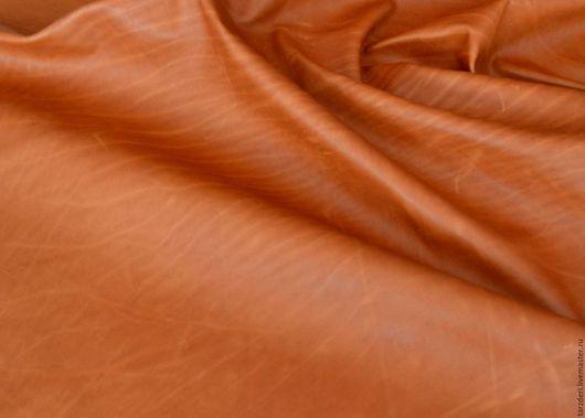 Шитье ручной работы. Ярмарка Мастеров - ручная работа. Купить Натуральная рыжая кожа 0,65 мм. Handmade.