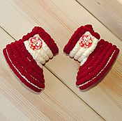 Работы для детей, handmade. Livemaster - original item Knitted shoes Booties boots plush, baby shoes, color Burgundy. Handmade.