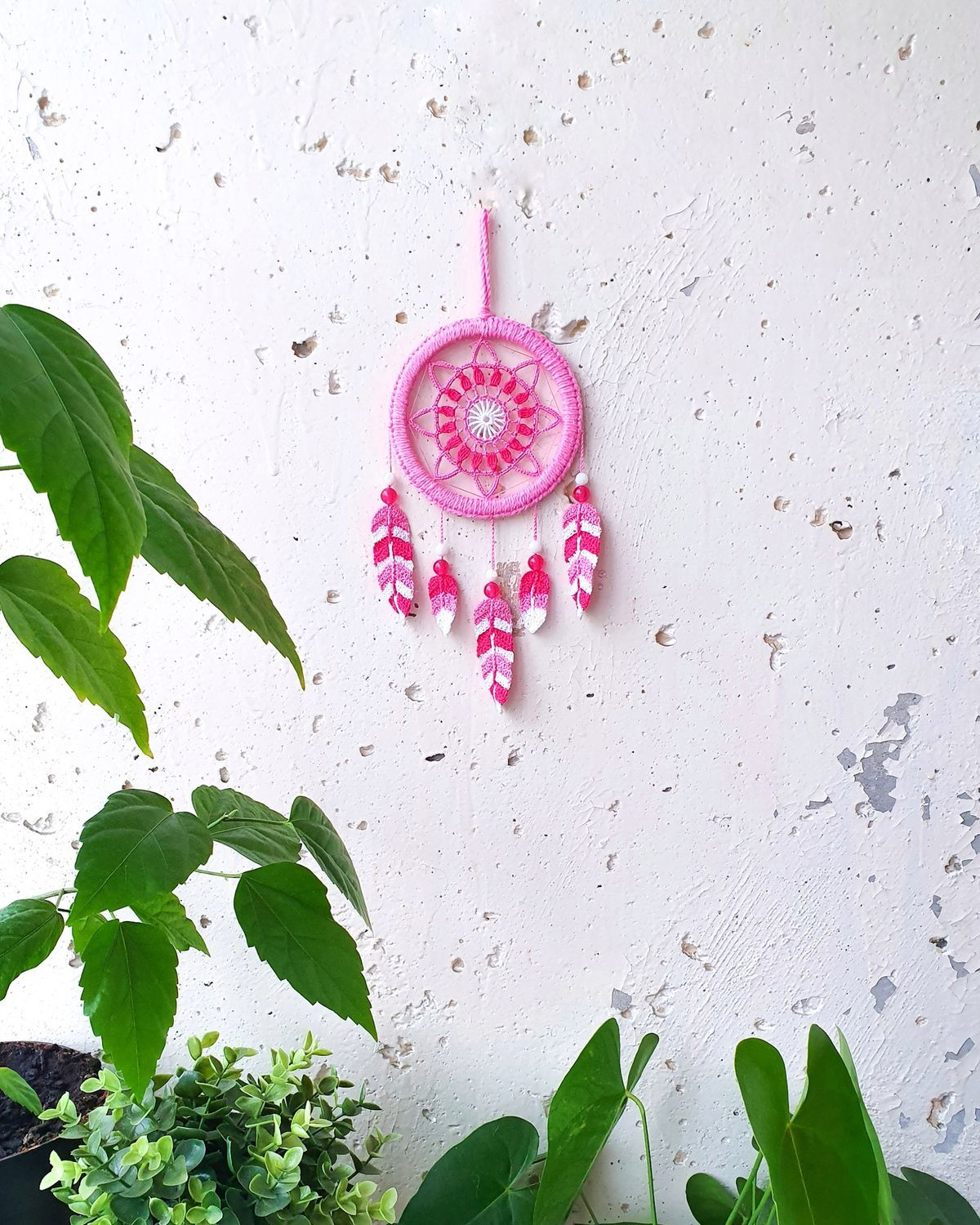 Small hot pink knitted dream catcher, Dream catchers, St. Petersburg,  Фото №1