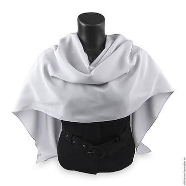 Аксессуары ручной работы. Ярмарка Мастеров - ручная работа Шелковый палантин Светло Серый, натуральный шелк. Handmade.