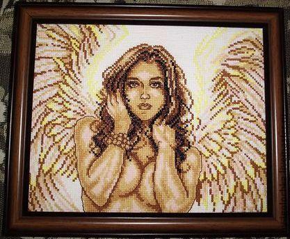 Люди, ручной работы. Ярмарка Мастеров - ручная работа. Купить Нежный ангел. Handmade. Ангел, крылья ангела, Вышивка крестом