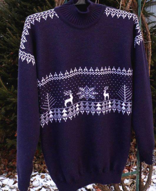 Для мужчин, ручной работы. Ярмарка Мастеров - ручная работа. Купить Жаккардовый свитер. Handmade. Тёмно-синий, мужской свитер