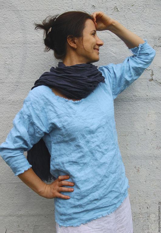 Блузки ручной работы. Ярмарка Мастеров - ручная работа. Купить Льняная туника. Handmade. Голубой, 100% лен, натуральные ткани