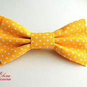 Аксессуары ручной работы. Ярмарка Мастеров - ручная работа Бабочка галстук желтая в мелкий белый горошек. Handmade.