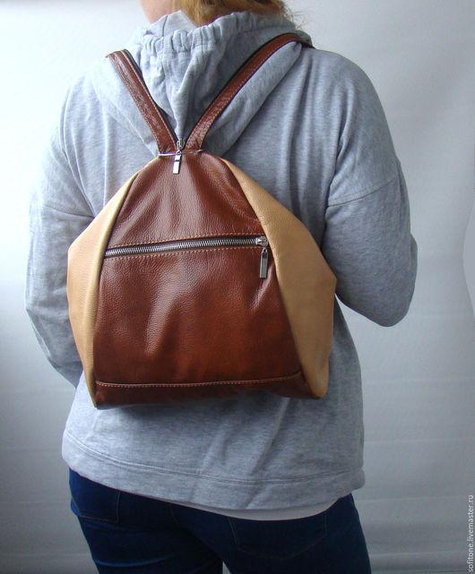 Рюкзаки ручной работы. Ярмарка Мастеров - ручная работа. Купить Сумка-Рюкзак Цвет Рыжий с бежевым. Handmade. Цветной рюкзак