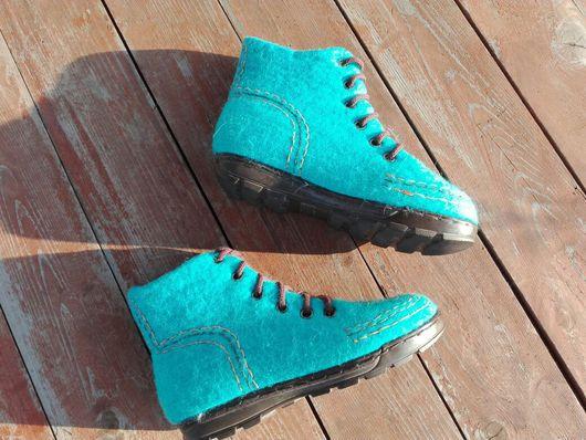 Обувь ручной работы. Ярмарка Мастеров - ручная работа. Купить Ботинки Лазуриты. Handmade. Тёмно-бирюзовый, уфа, лазурный