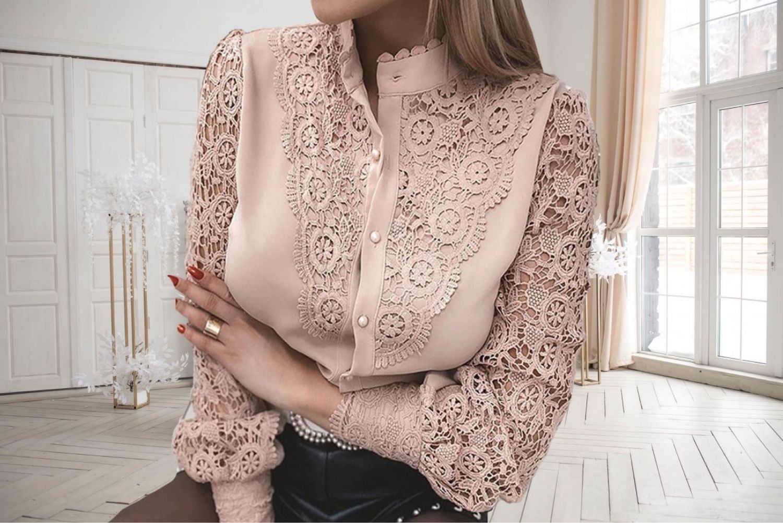 Кружевная блузка пудрового цвета, Блузки, Москва,  Фото №1