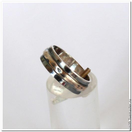 Кольца ручной работы. Ярмарка Мастеров - ручная работа. Купить Кольцо серебряное двойное. Handmade. Разноцветный