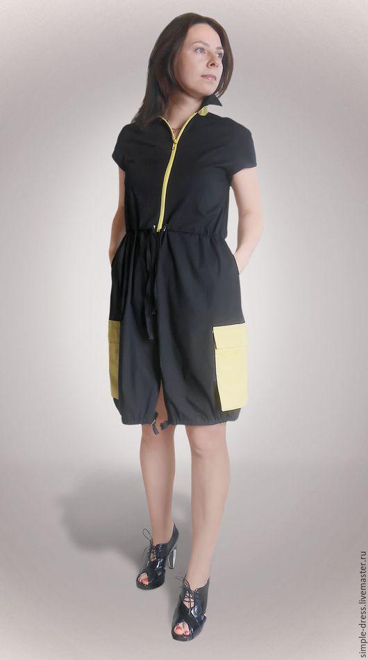 Платье. Платье черно-желтое, платье в стиле сафари, городское платье, летнее платье, повседневное платье, платье в спортивном стиле, платье из хлопка, удобное платье, прямое платье