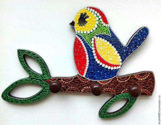 """Прихожая ручной работы. Ярмарка Мастеров - ручная работа. Купить вешалка """"Птичка Мандаринка"""". Handmade. Комбинированный, Роспись по дереву"""