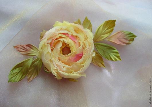 """Броши ручной работы. Ярмарка Мастеров - ручная работа. Купить Брошь. Роза из шелка """"Лючия"""". Handmade. Брошь, летнее украшение"""