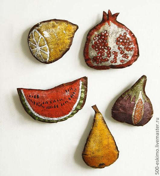 """Кухня ручной работы. Ярмарка Мастеров - ручная работа. Купить Магниты на холодильник """"фрукты"""". Handmade. Магнит, гранат"""