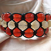 Украшения handmade. Livemaster - original item Shamballa bracelet with carnelian and citrine triple