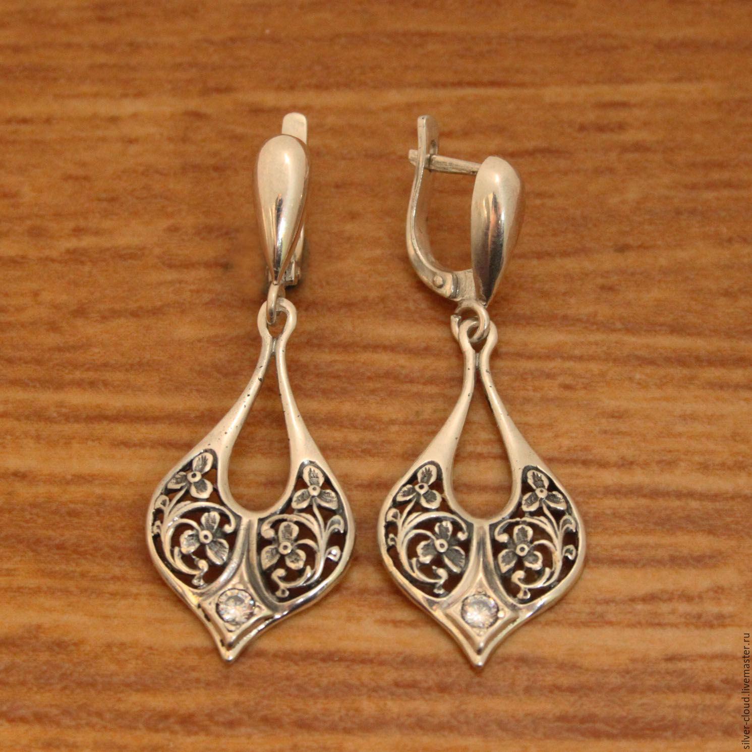 0dc5427023c2 Серебряные серьги Диадема, серебро 925 – купить в интернет-магазине на  Ярмарке ...