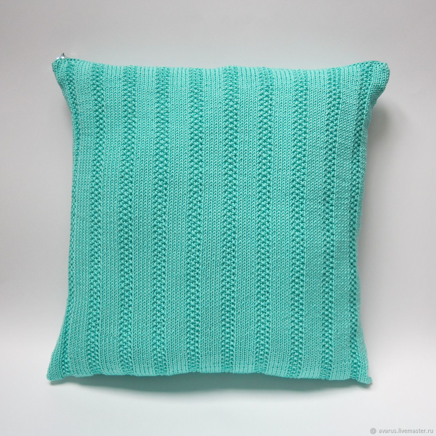 Handmade Livemaster Turquoise Knit Pillow 16x16 Decorative Cover Toss