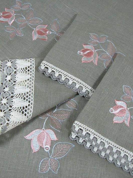 """Текстиль, ковры ручной работы. Ярмарка Мастеров - ручная работа. Купить Комплект столового белья """"Чайная роза на сером"""" прямоугольная.. Handmade."""
