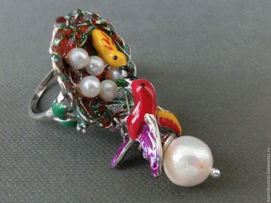 17 р-р кольцо `Птицы` с жемчугом касуми серебро 925 эмаль - ручная работа Kamnibusinki.