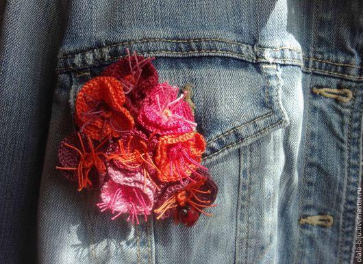 """Броши ручной работы. Ярмарка Мастеров - ручная работа. Купить брошь """"цветы"""". Handmade. Рыжий, оранжевый, фуксия, цветы в украшении"""