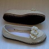 Обувь ручной работы. Ярмарка Мастеров - ручная работа Балетки вязаные уличные, белые, лен. Handmade.