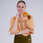 Одежда handmade. Livemaster - original item Dress linen Summer Russian. Handmade.