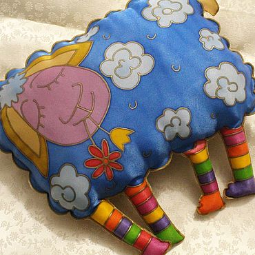 For home and interior handmade. Livemaster - original item Aries pillow toy ,hand-painted, 35h34 cm, a gift to the rams. Handmade.