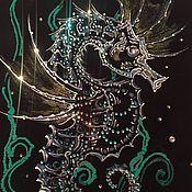 """Картины и панно ручной работы. Ярмарка Мастеров - ручная работа Инкрустация """"морской конёк"""". Handmade."""