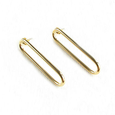 Decorations handmade. Livemaster - original item Large gold earrings without stones