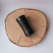 Посуда handmade. Livemaster - original item Charka with an ornament - black-flattened ceramic.. Handmade.