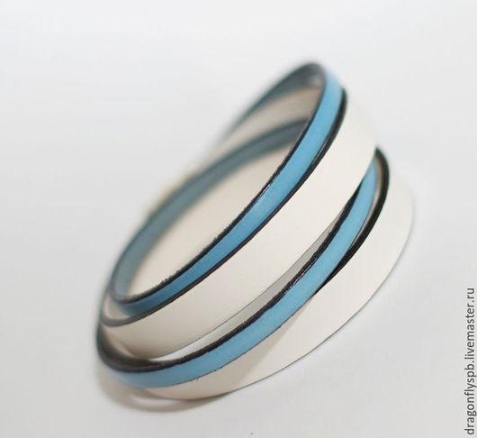 """Браслеты ручной работы. Ярмарка Мастеров - ручная работа. Купить Кожаный браслет """"на гребне волны"""". Handmade. Голубой"""
